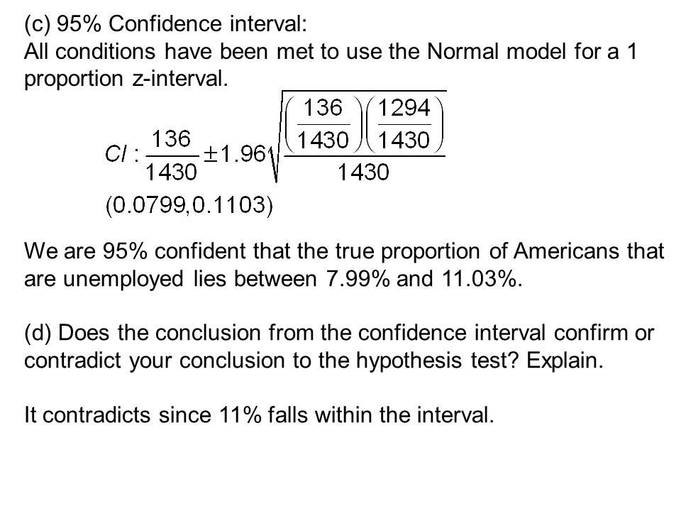 (c) 95% Confidence interval: