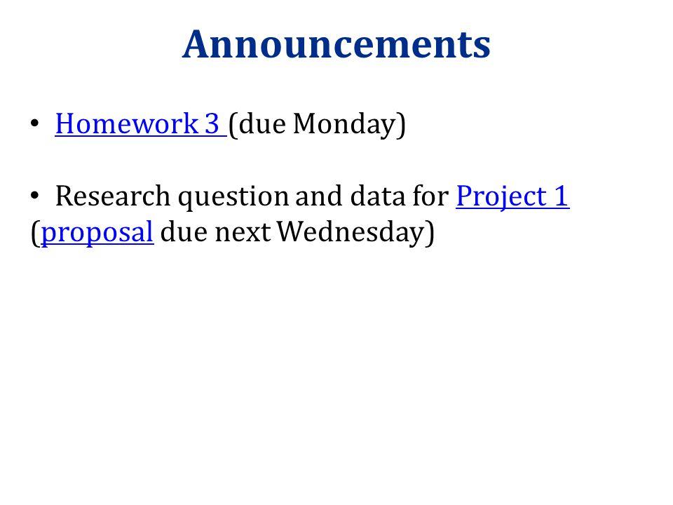 Announcements Homework 3 (due Monday)