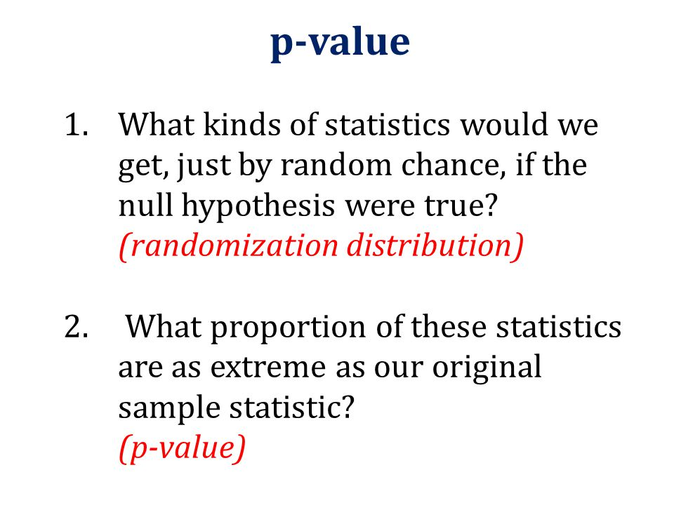 p-value What kinds of statistics would we get, just by random chance, if the null hypothesis were true (randomization distribution)