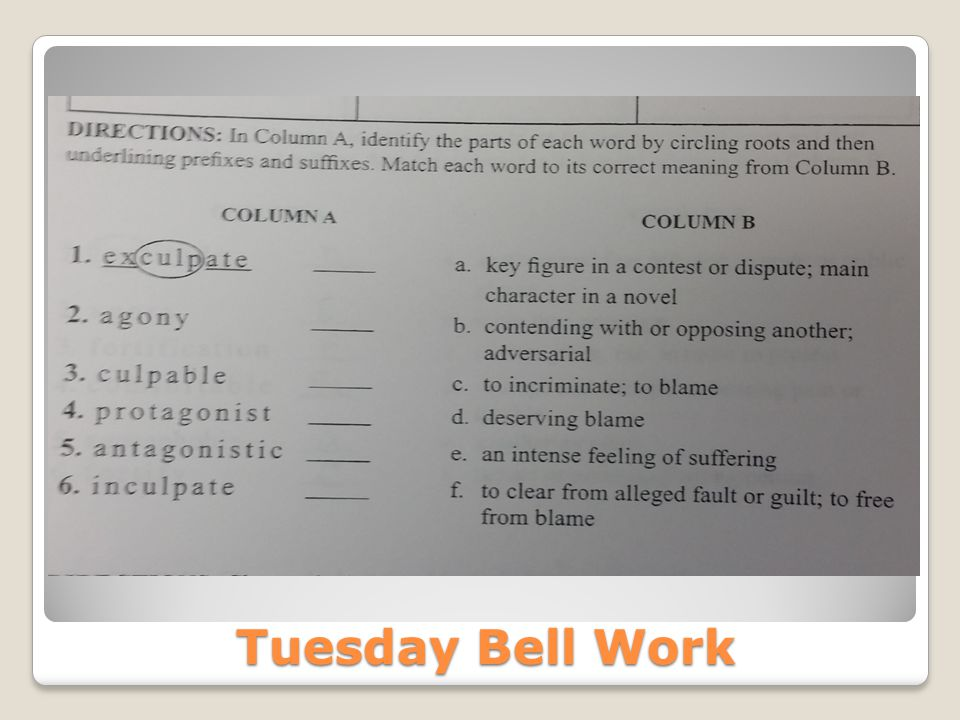 Tuesday Bell Work