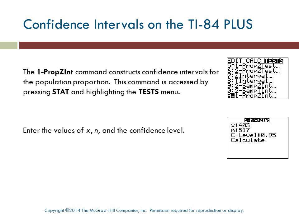 Confidence Intervals on the TI-84 PLUS