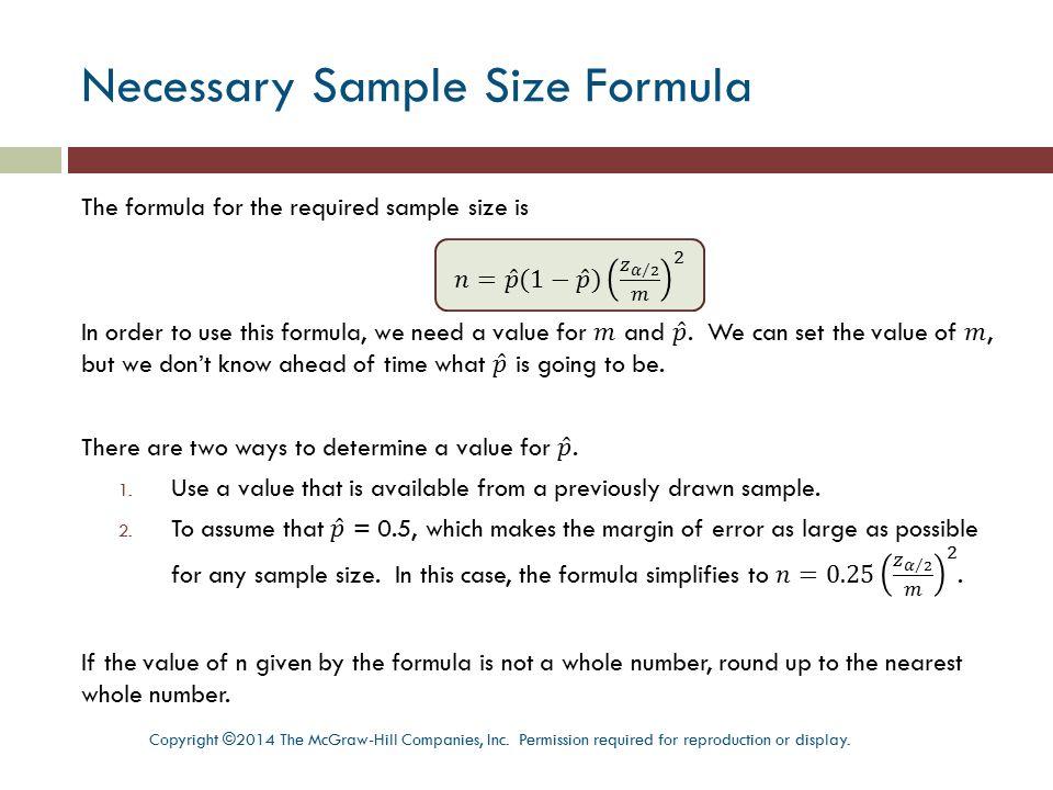 Necessary Sample Size Formula