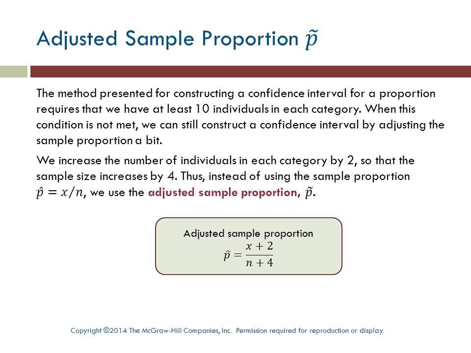 Adjusted Sample Proportion 𝑝