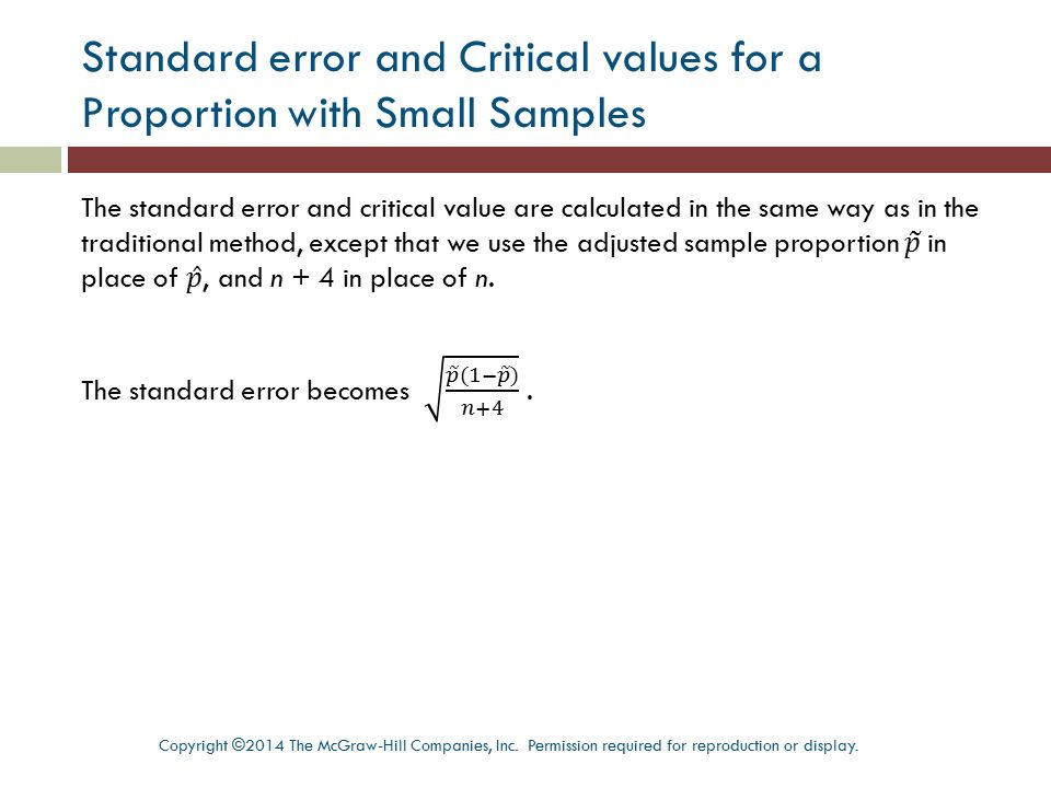 Standard error and Critical values for a Proportion with Small Samples