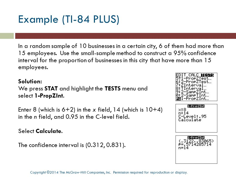 Example (TI-84 PLUS)