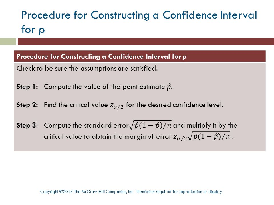 Procedure for Constructing a Confidence Interval for p