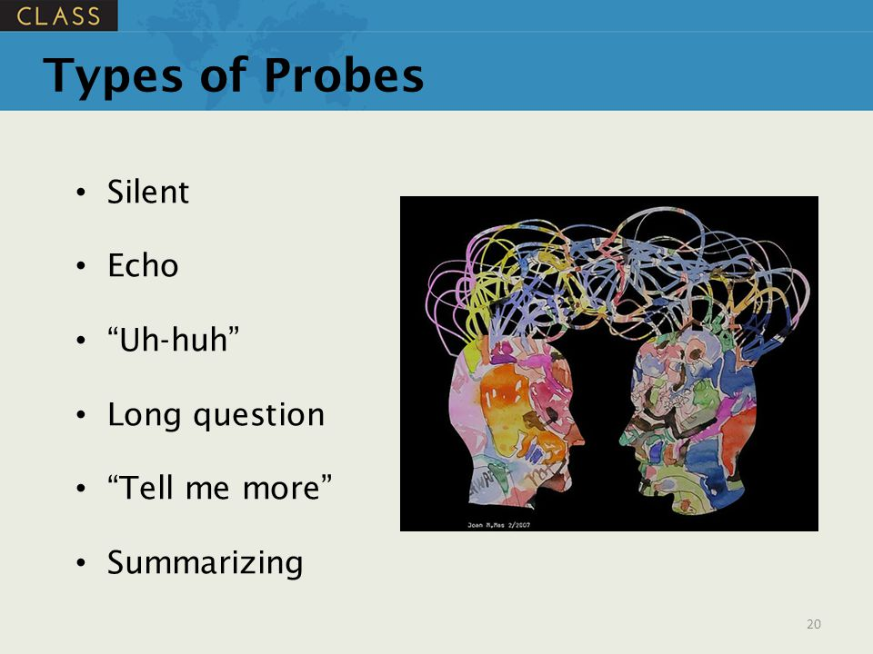 Types of Probes Silent Echo Uh-huh Long question Tell me more