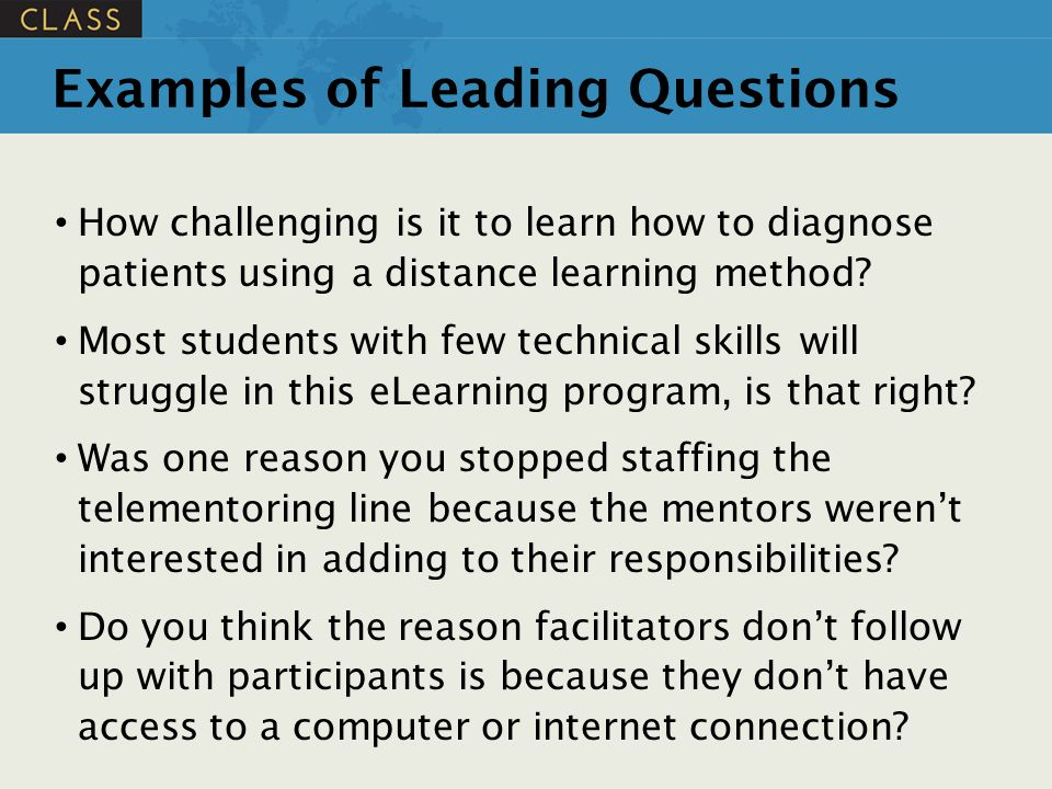 Examples of Leading Questions