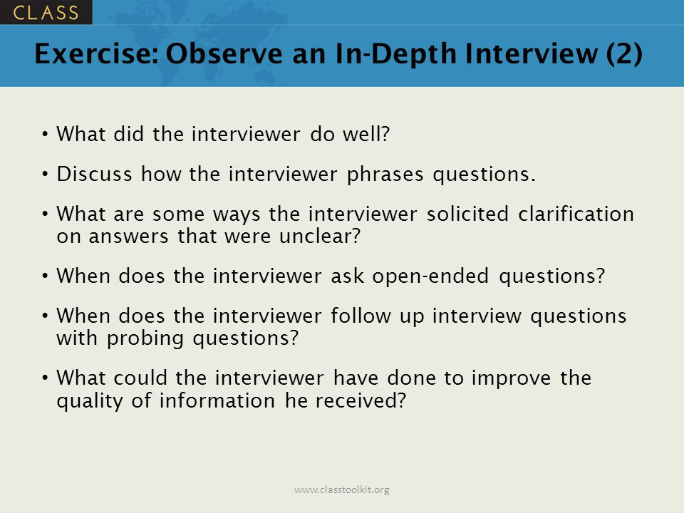 Exercise: Observe an In-Depth Interview (2)