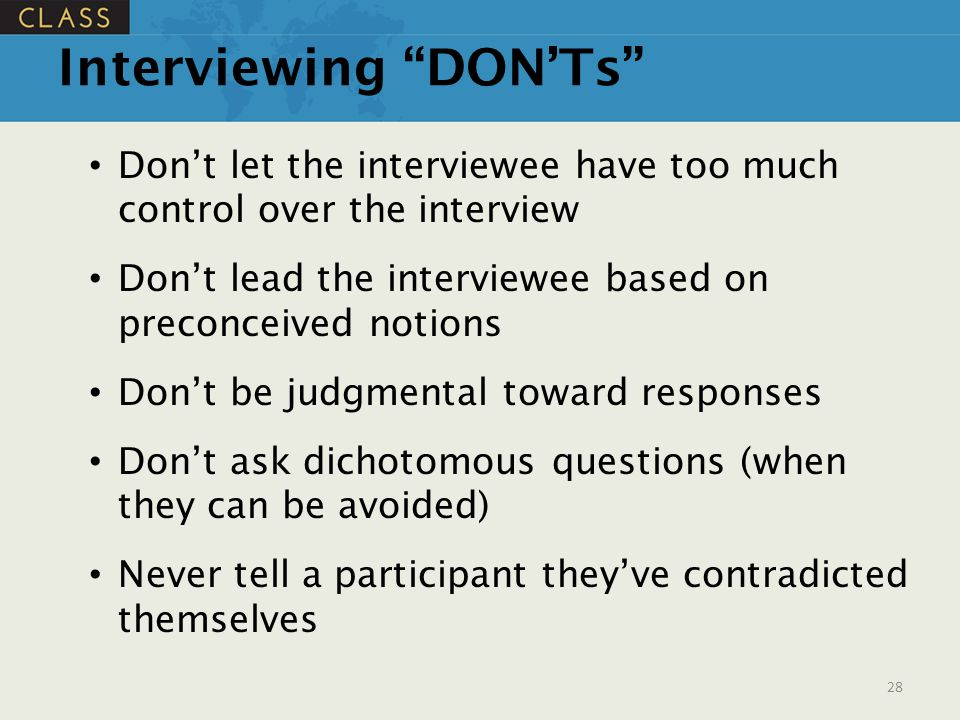 Interviewing DON'Ts