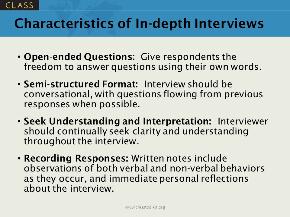 Characteristics of In-depth Interviews