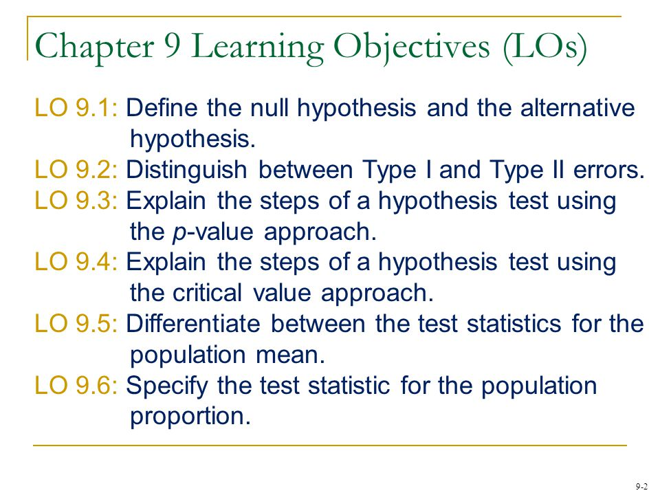 Chapter 9 Learning Objectives (LOs)