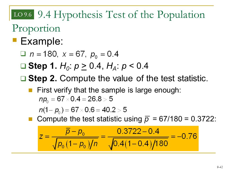 9.4 Hypothesis Test of the Population Proportion