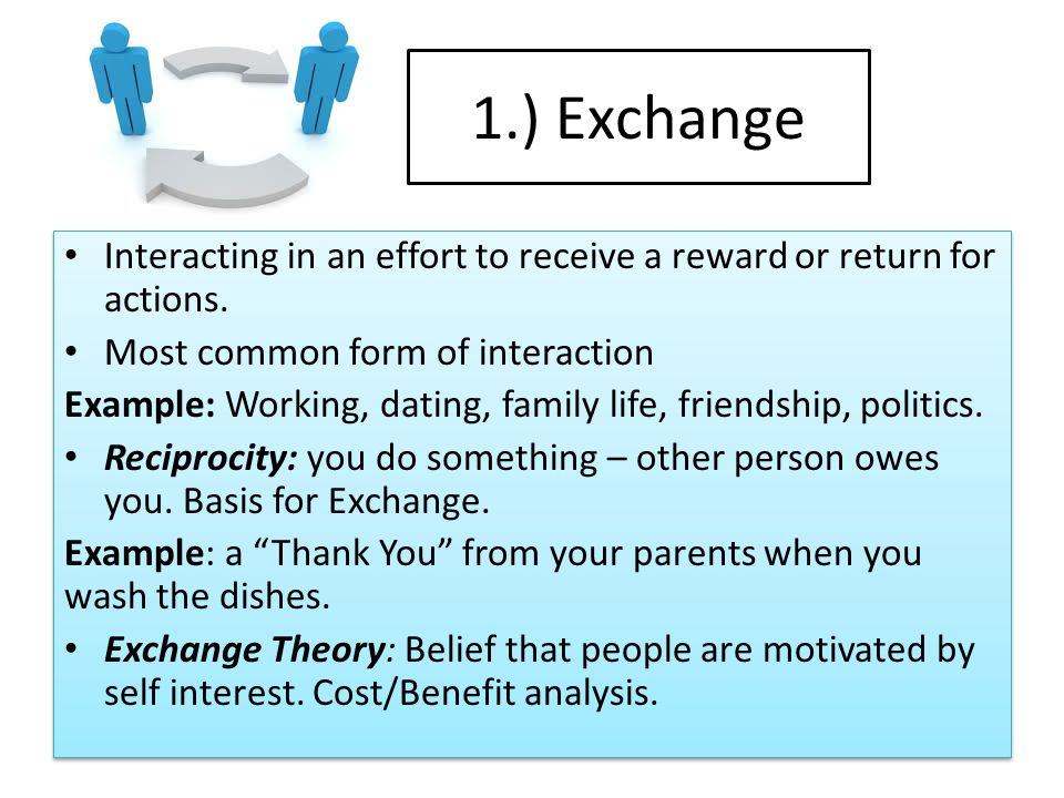 1.) Exchange Interacting in an effort to receive a reward or return for actions. Most common form of interaction.