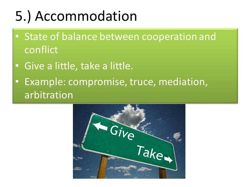 5.) Accommodation State of balance between cooperation and conflict
