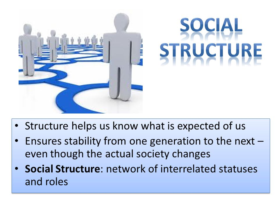 Social Structure Structure helps us know what is expected of us