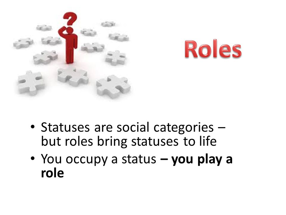 Roles Statuses are social categories – but roles bring statuses to life.