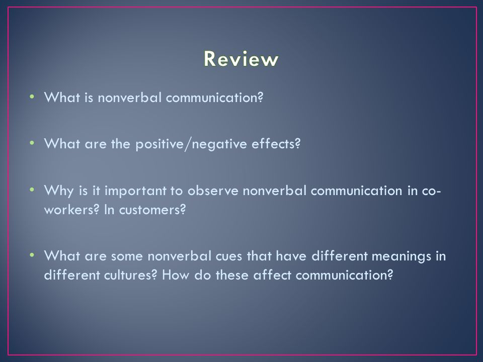 Review What is nonverbal communication