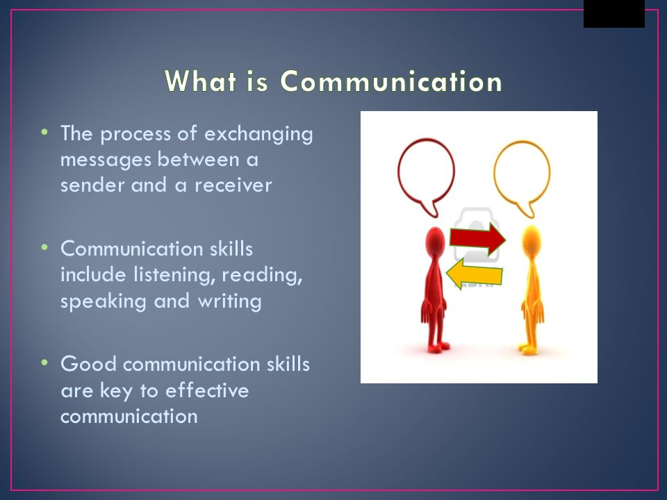 What is Communication The process of exchanging messages between a sender and a receiver.
