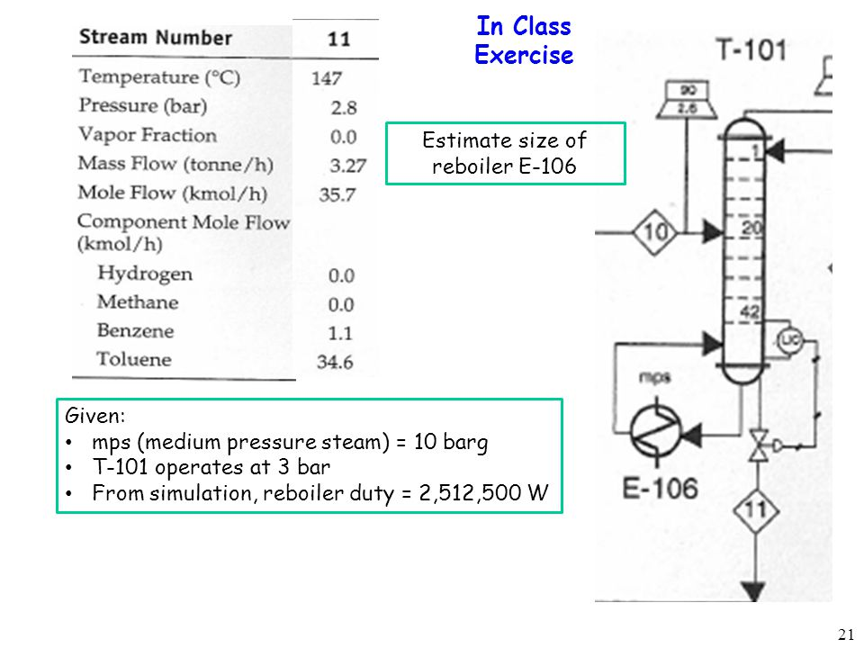Estimate size of reboiler E-106