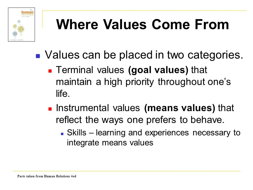 Where Values Come From Values can be placed in two categories.