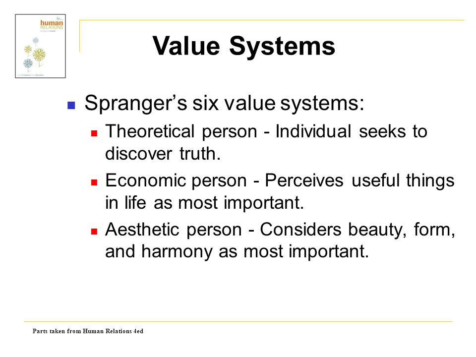 Value Systems Spranger's six value systems: