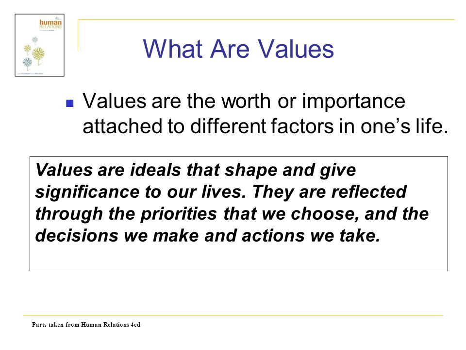What Are Values Values are the worth or importance attached to different factors in one's life.