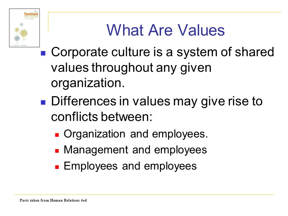 What Are Values Corporate culture is a system of shared values throughout any given organization.
