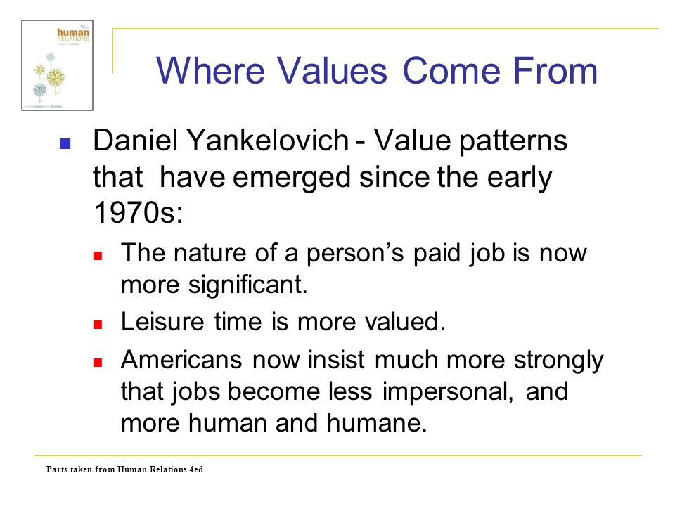 Where Values Come From Daniel Yankelovich - Value patterns that have emerged since the early 1970s: