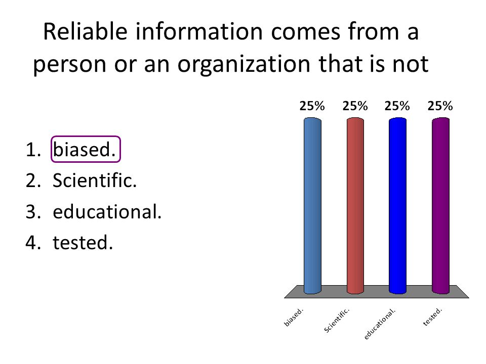 Reliable information comes from a person or an organization that is not