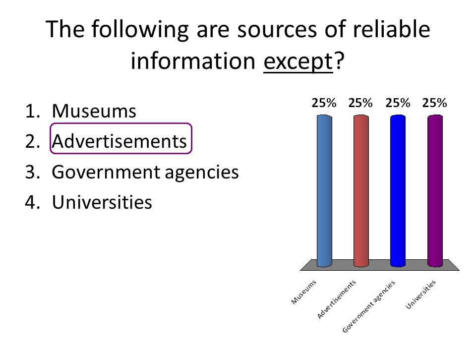 The following are sources of reliable information except