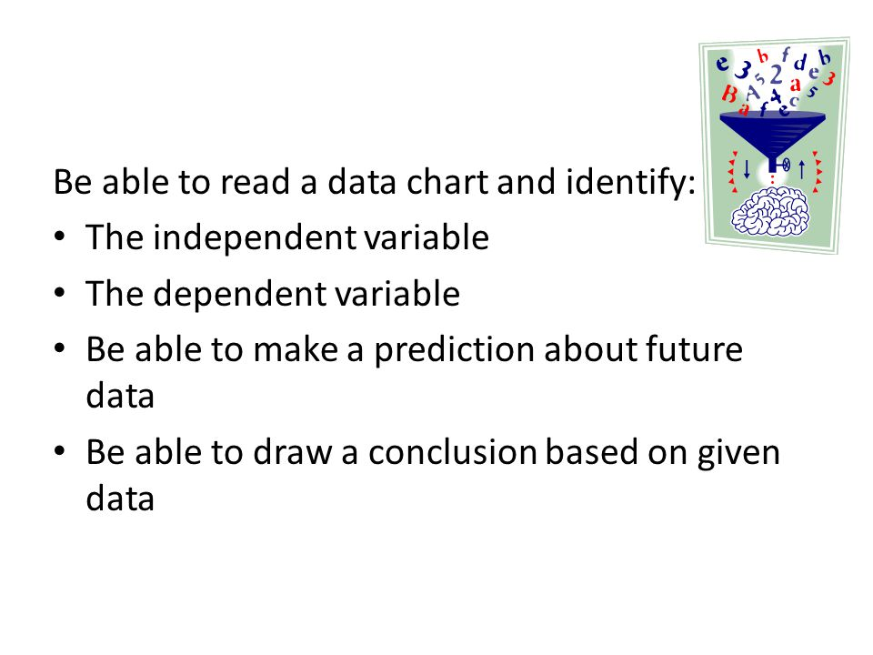 Be able to read a data chart and identify: