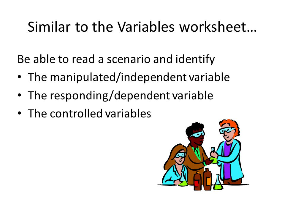 Similar to the Variables worksheet…