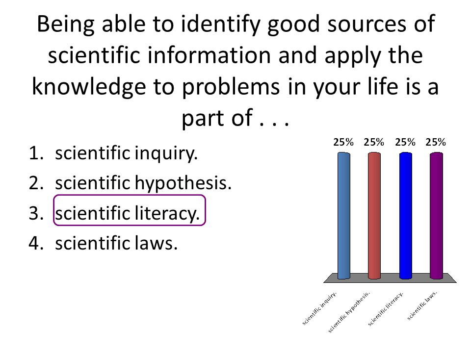 Being able to identify good sources of scientific information and apply the knowledge to problems in your life is a part of . . .