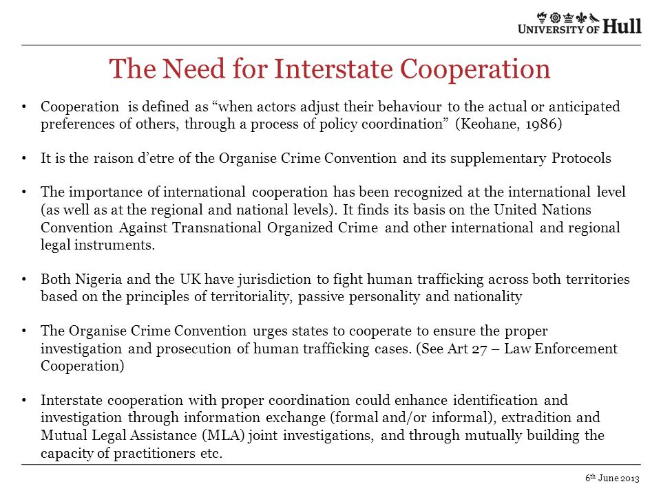 The Need for Interstate Cooperation