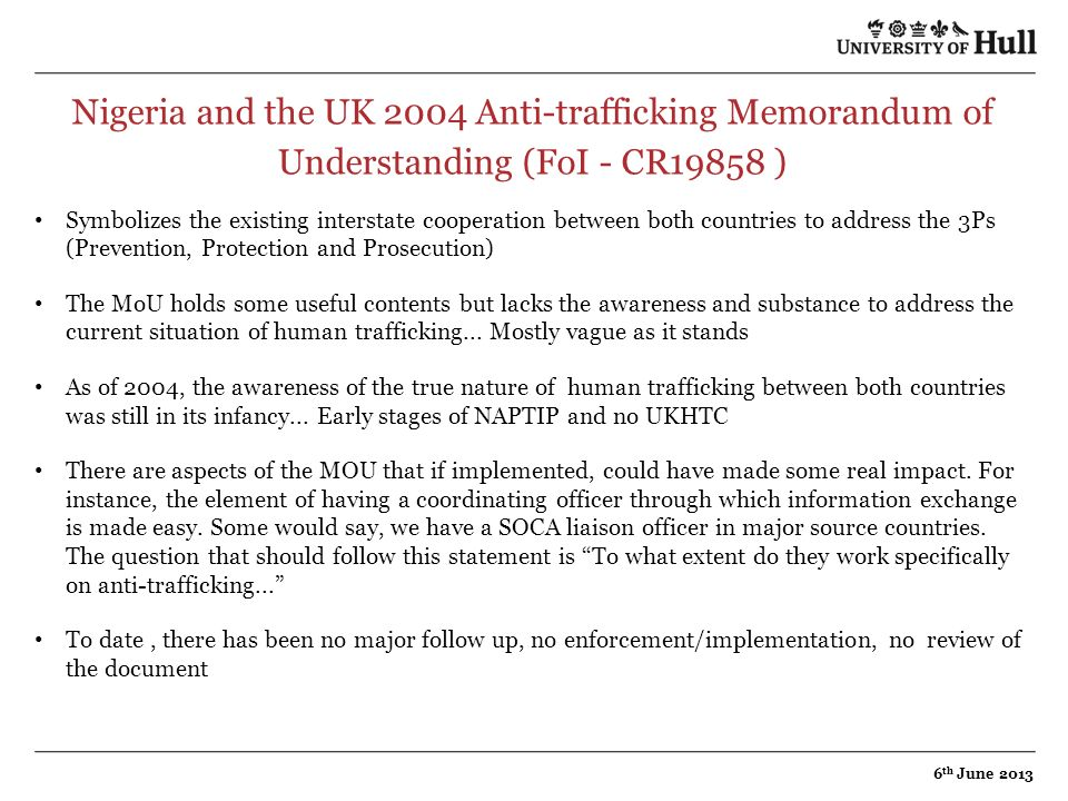 Nigeria and the UK 2004 Anti-trafficking Memorandum of Understanding (FoI - CR19858 )