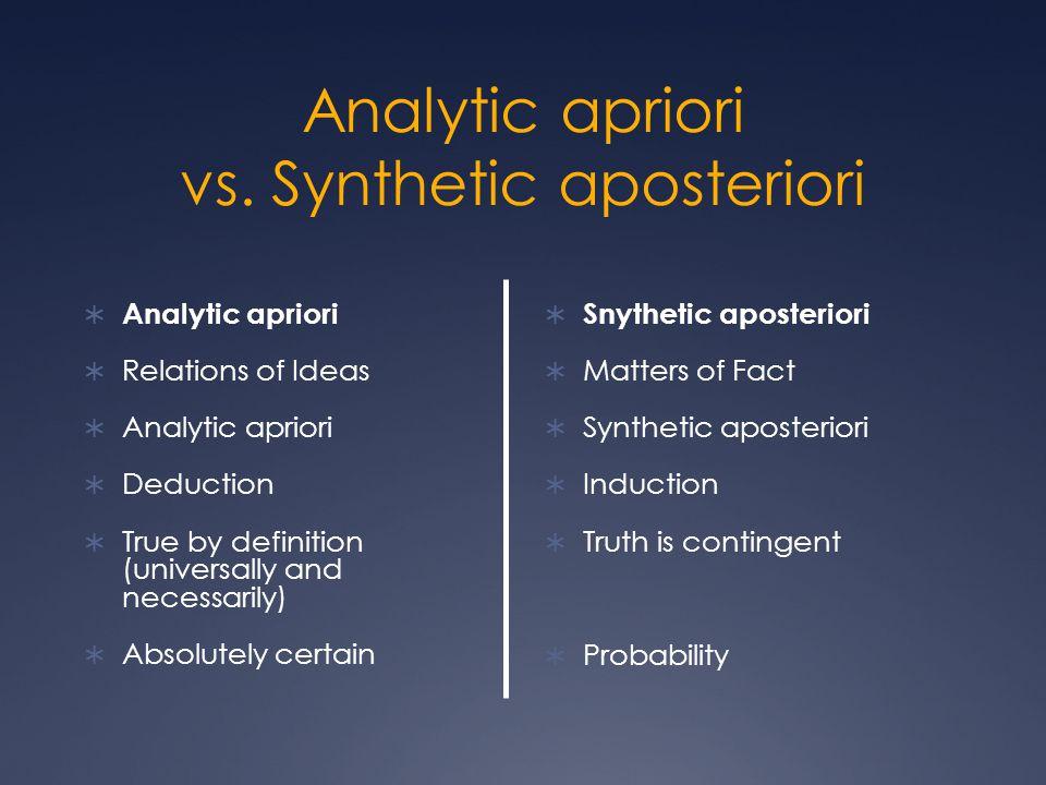Analytic apriori vs. Synthetic aposteriori