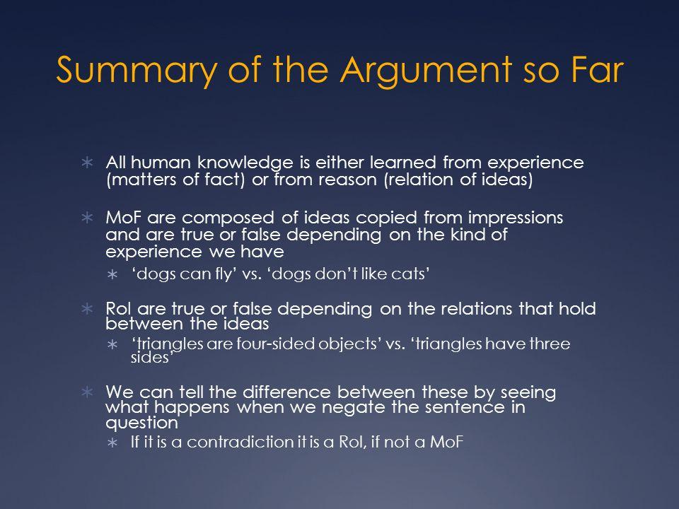 Summary of the Argument so Far