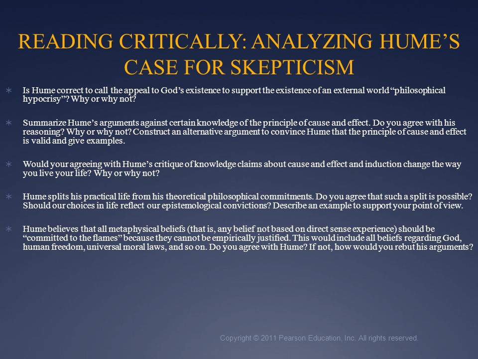 READING CRITICALLY: ANALYZING HUME'S CASE FOR SKEPTICISM