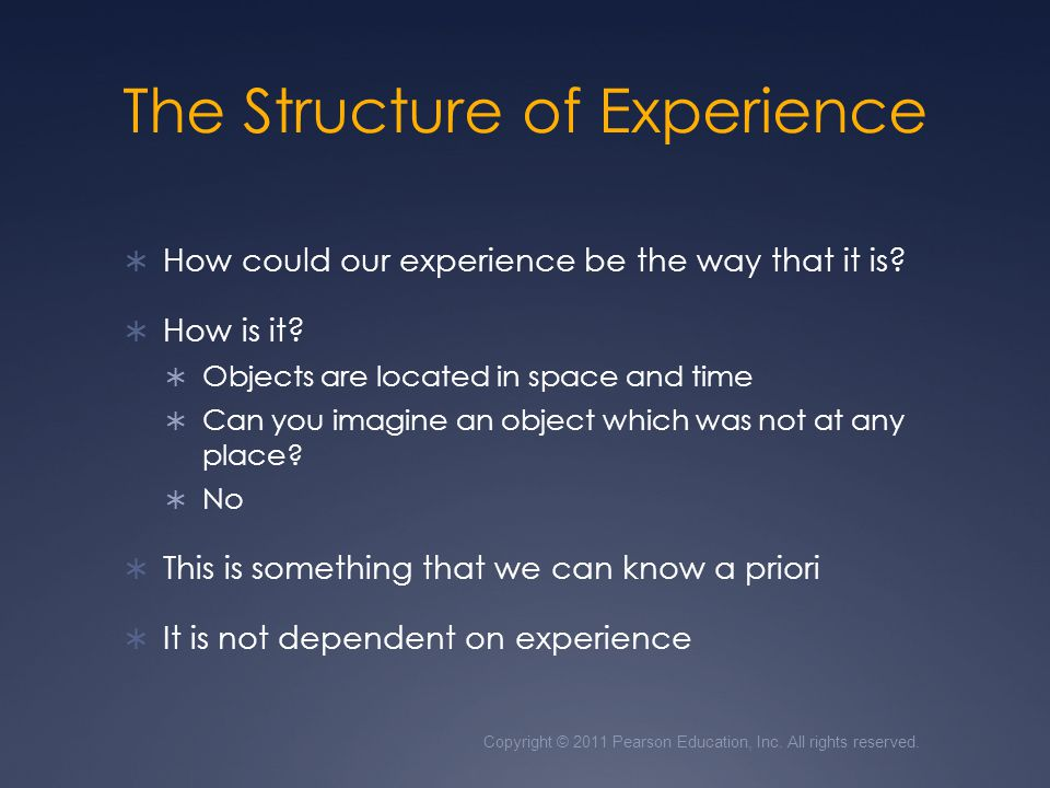 The Structure of Experience