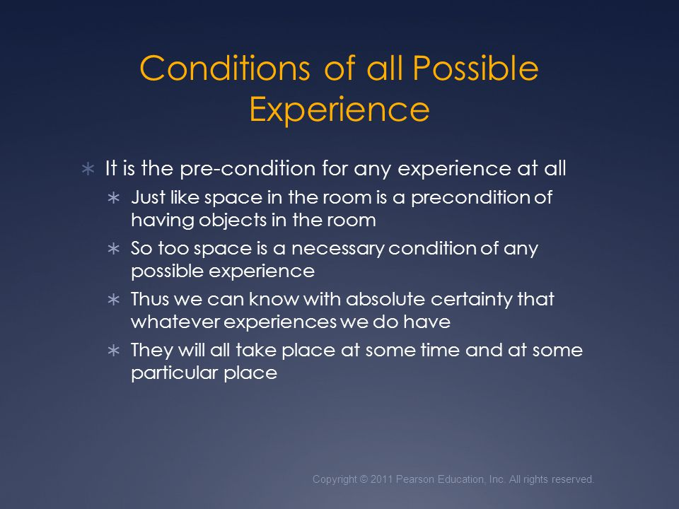Conditions of all Possible Experience