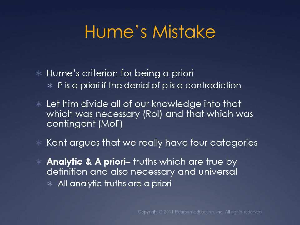 Hume's Mistake Hume's criterion for being a priori