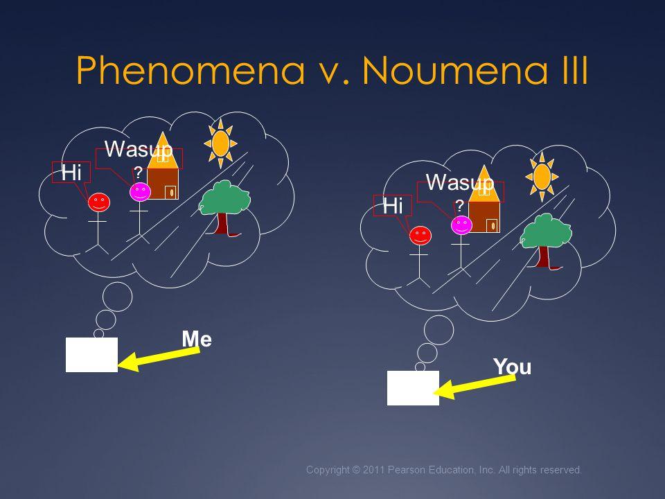 Phenomena v. Noumena III