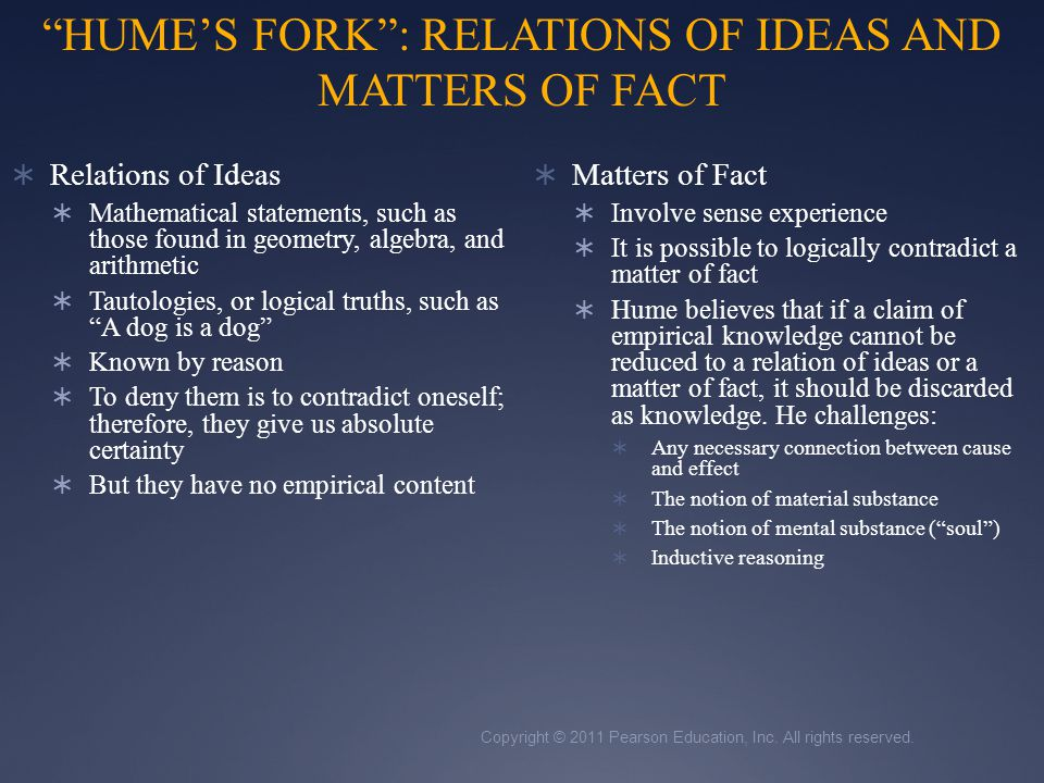 HUME'S FORK : RELATIONS OF IDEAS AND MATTERS OF FACT