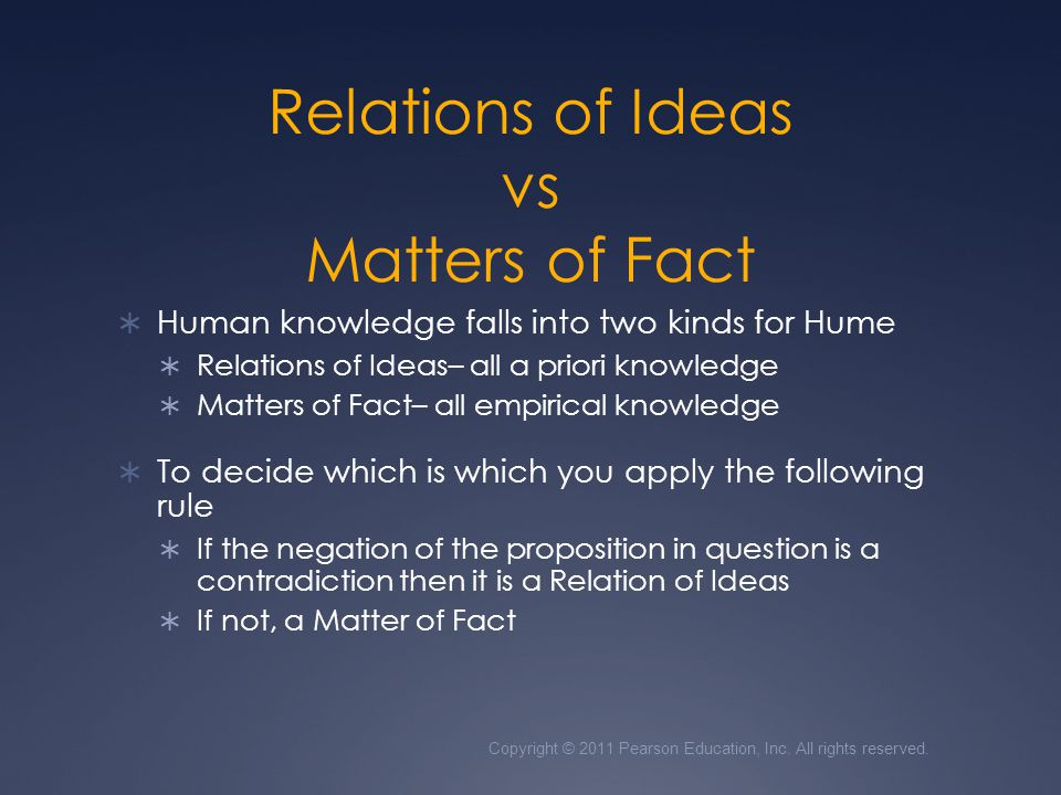Relations of Ideas vs Matters of Fact