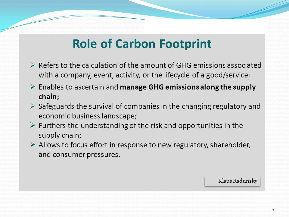 Role of Carbon Footprint