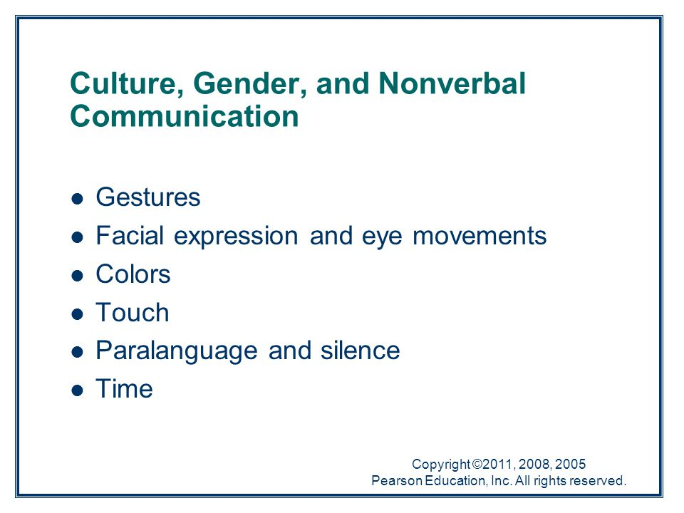 Culture, Gender, and Nonverbal Communication
