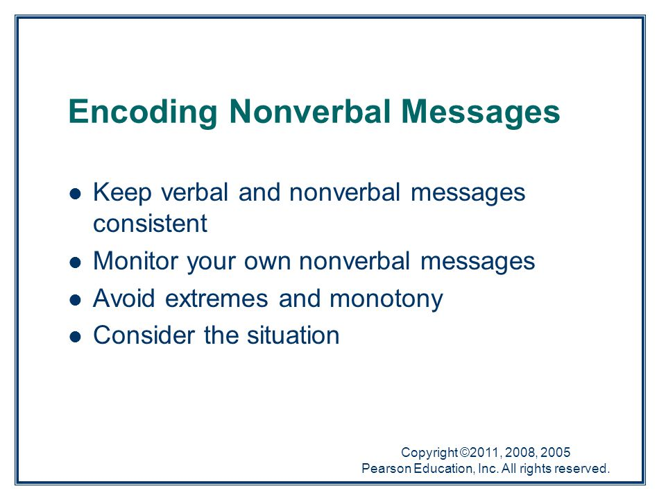 Encoding Nonverbal Messages