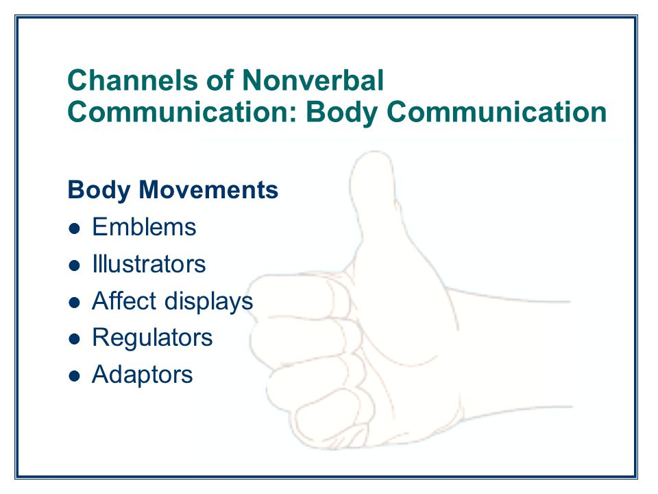 Channels of Nonverbal Communication: Body Communication