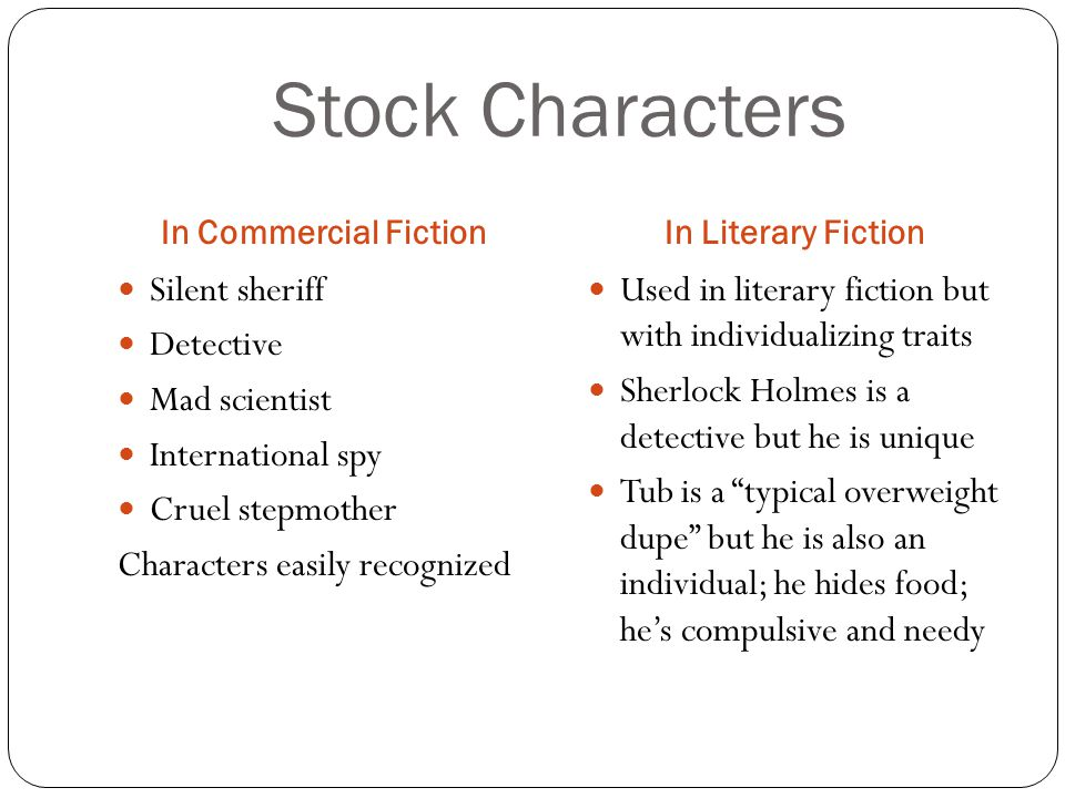 Stock Characters Silent sheriff Detective Mad scientist